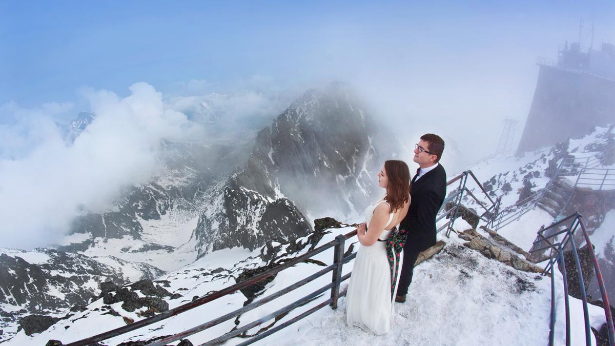 Plener ślubny w chmurach:)