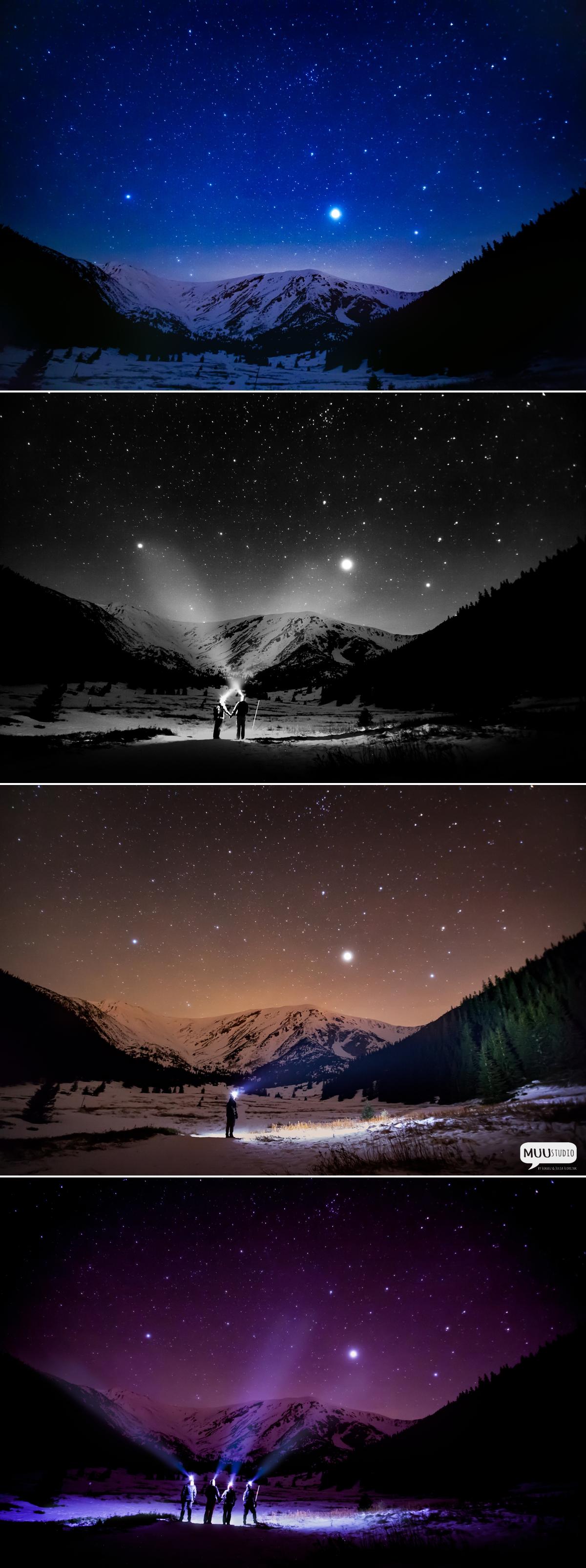 fotografia nocnego nieba w górach